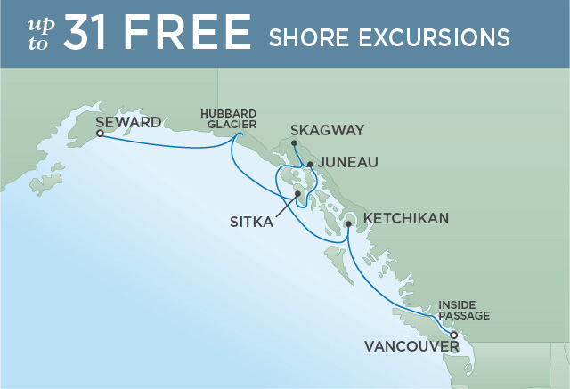 Regent Cruises | 7-Nights from Anchorage to Vancouver Cruise Iinerary Map