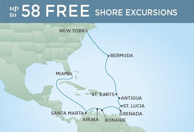 Regent Cruises | 15-Nights from New York to Miami Cruise Iinerary Map
