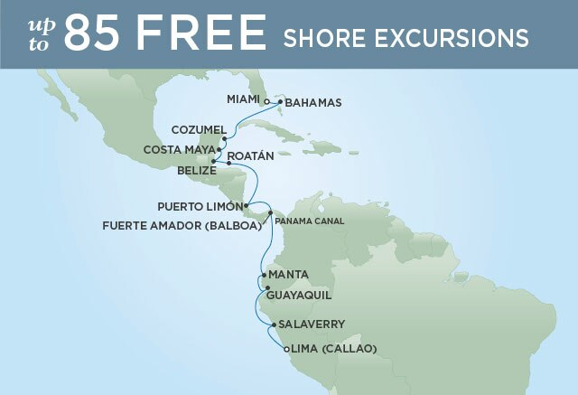 Regent Cruises | 16-Nights from Lima to Miami Cruise Iinerary Map