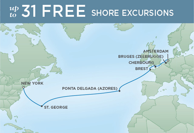 Regent Cruises | 15-Nights from New York to Amsterdam Cruise Iinerary Map