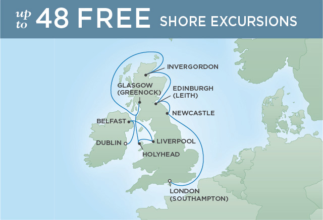 Regent Cruises | 11-Nights from London to Dublin Cruise Iinerary Map
