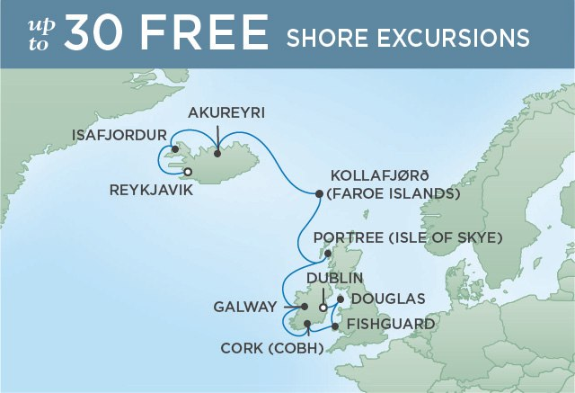 Regent Cruises | 12-Nights from Dublin to Reykjavik Cruise Iinerary Map
