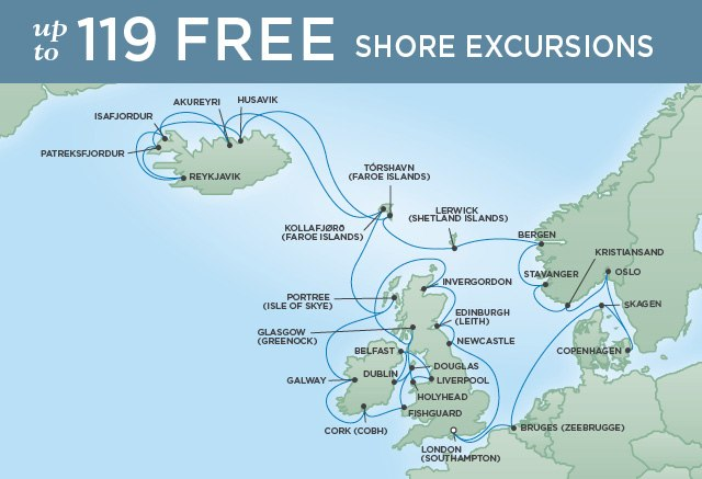 Regent Cruises | 37-Nights Roundtrip from London Cruise Iinerary Map