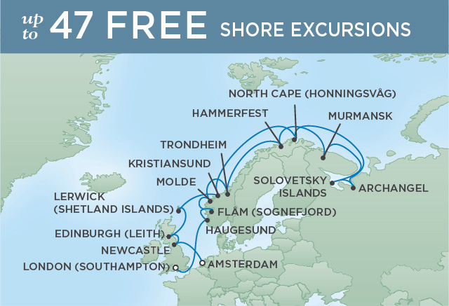Regent Cruises | 20-Nights from London to Amsterdam Cruise Iinerary Map