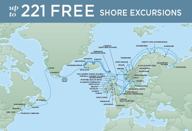 Regent Cruises | 77-Nights from London to New York Cruise Iinerary Map