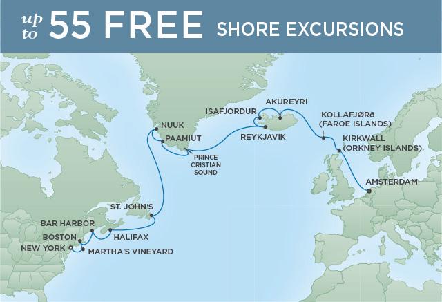 Regent Cruises | 20-Nights from Amsterdam to New York Cruise Iinerary Map