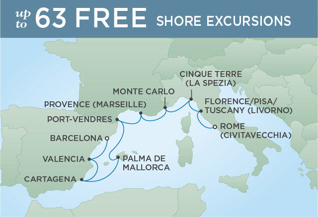 Regent Cruises | 10-Nights from Rome to Barcelona Cruise Iinerary Map