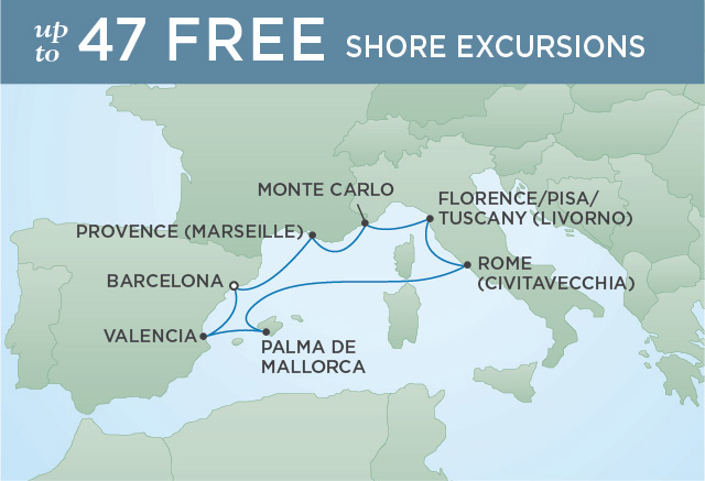 Regent Cruises | 8-Nights Roundtrip from Barcelona Cruise Iinerary Map