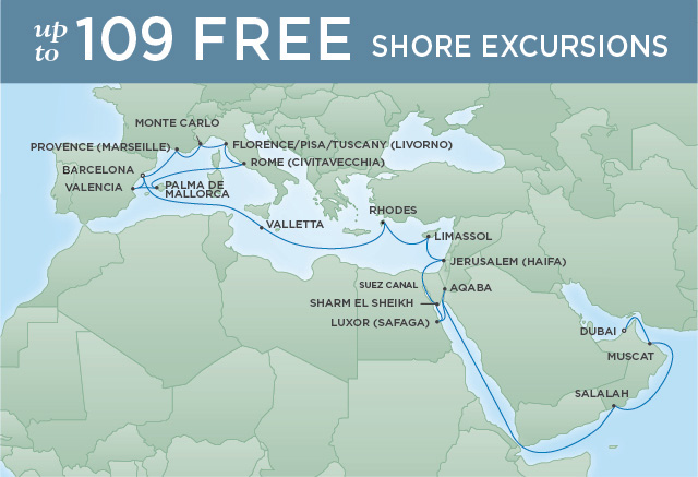 Regent Cruises | 29-Nights from Barcelona to Dubai Cruise Iinerary Map