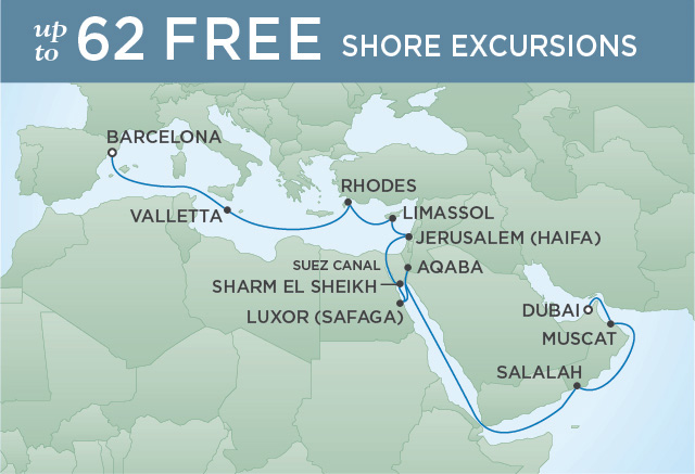 Regent Cruises | 21-Nights from Barcelona to Dubai Cruise Iinerary Map