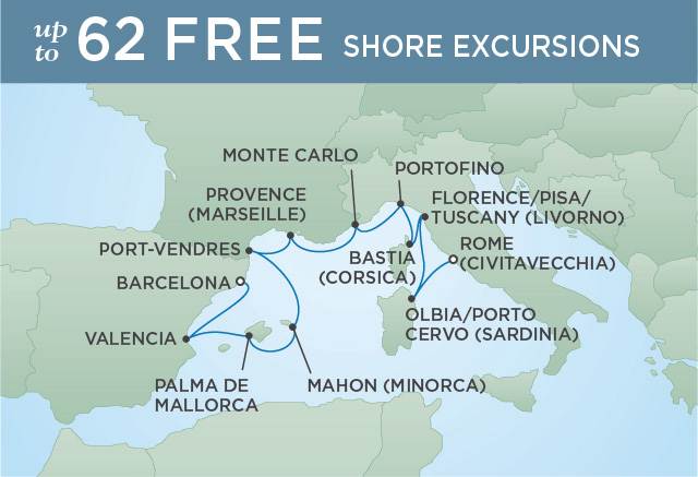 Regent Cruises | 11-Nights from Barcelona to Rome Cruise Iinerary Map