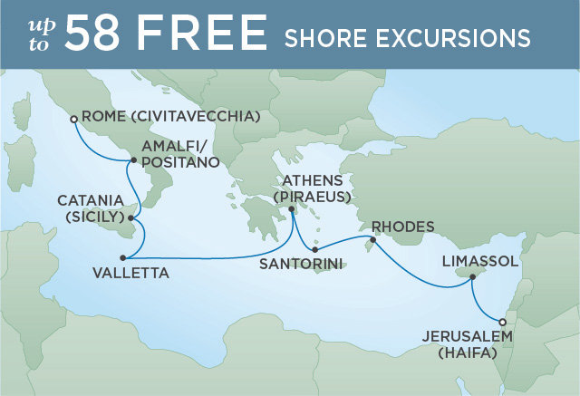 Regent Cruises | 10-Nights from Rome to Jerusalem Cruise Iinerary Map