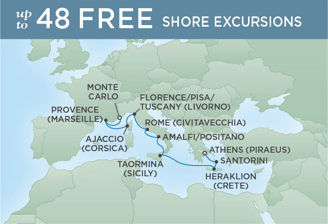 Regent Cruises | 10-Nights from Athens to Monte-Carlo Cruise Iinerary Map