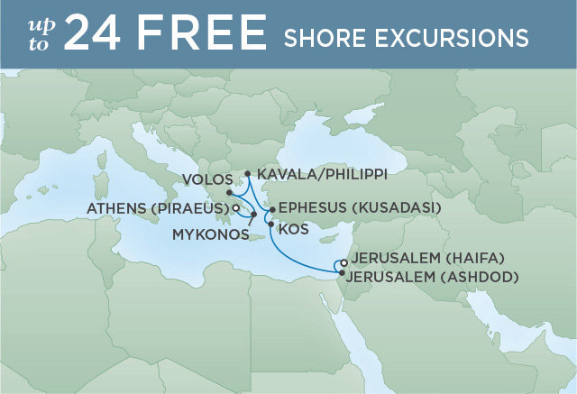 Regent Cruises | 8-Nights from Jerusalem to Athens Cruise Iinerary Map