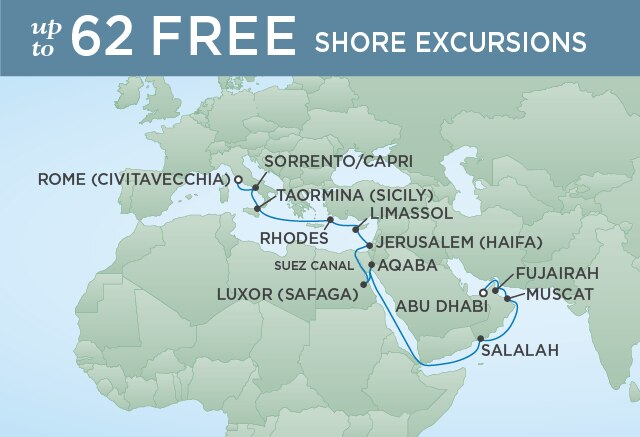 Regent Cruises | 20-Nights from Abu Dhabi to Rome Cruise Iinerary Map