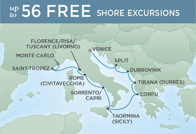 Regent Cruises | 10-Nights from Venice to Monte-Carlo Cruise Iinerary Map
