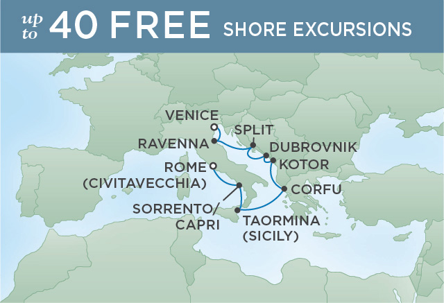 Regent Cruises | 8-Nights from Venice to Rome Cruise Iinerary Map