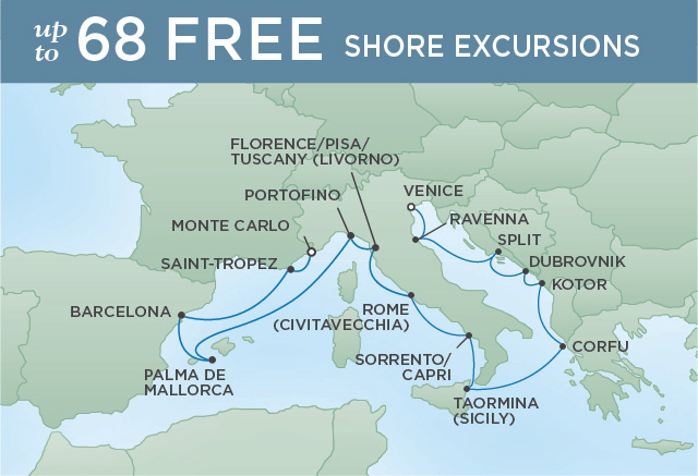 Regent Cruises | 15-Nights from Venice to Monte-Carlo Cruise Iinerary Map