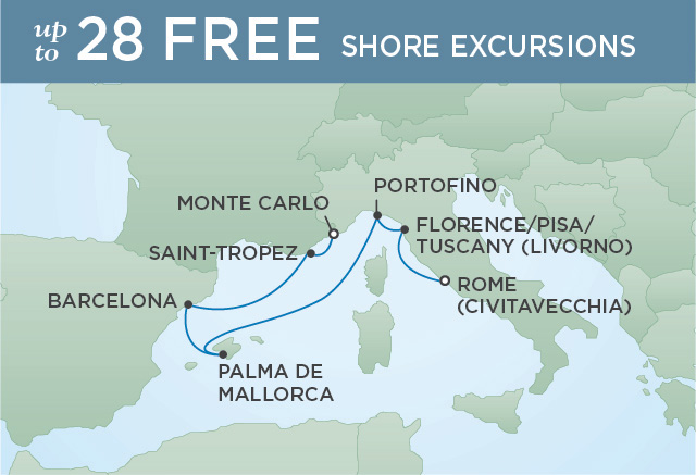 Regent Cruises | 7-Nights from Rome to Monte-Carlo Cruise Iinerary Map
