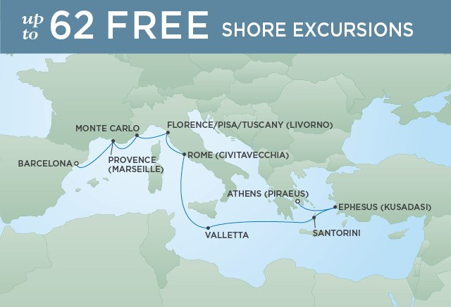Regent Cruises | 10-Nights from Barcelona to Monte-Carlo Cruise Iinerary Map