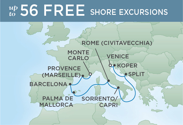 Regent Cruises | 11-Nights from Monte-Carlo to Venice Cruise Iinerary Map