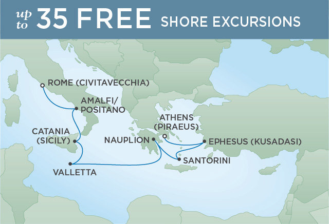 Regent Cruises | 8-Nights from Rome to Athens Cruise Iinerary Map