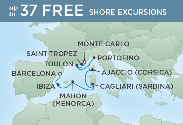 Regent Cruises | 8-Nights from Barcelona to Monte-Carlo Cruise Iinerary Map