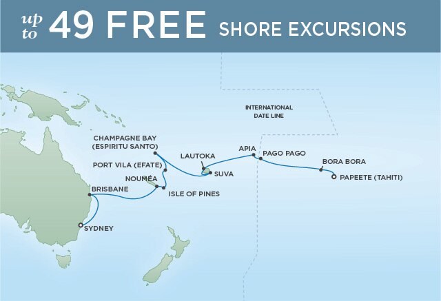 Regent Cruises | 20-Nights from Papeete to Sydney Cruise Iinerary Map