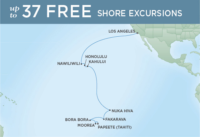 Regent Cruises | 18-Nights from Los Angeles to Papeete Cruise Iinerary Map