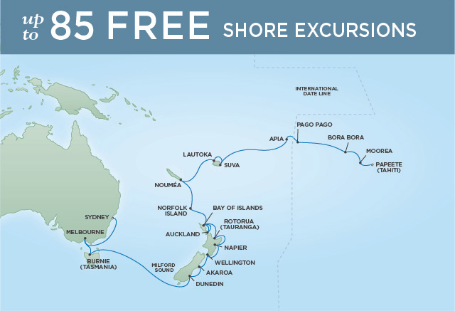Regent Cruises | 29-Nights from Sydney to Papeete Cruise Iinerary Map