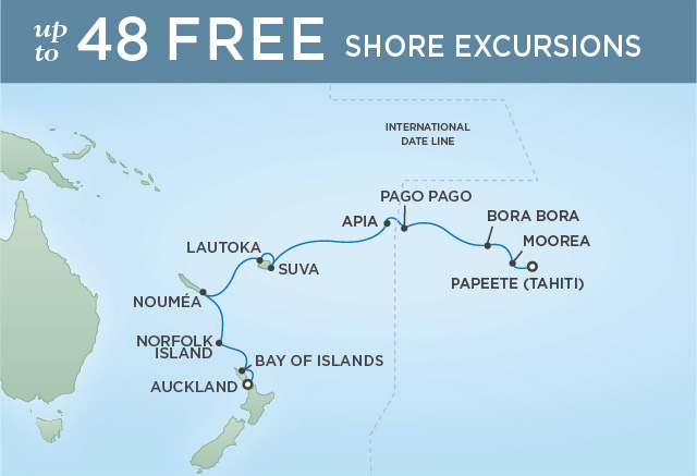 Regent Cruises | 15-Nights from Auckland to Papeete Cruise Iinerary Map