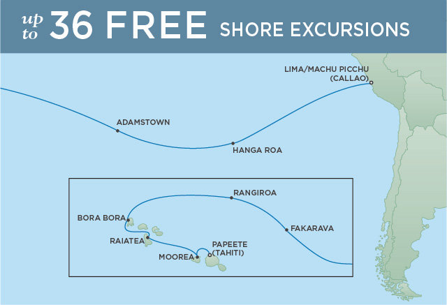 Regent Cruises | 18-Nights from Papeete to Lima Cruise Iinerary Map