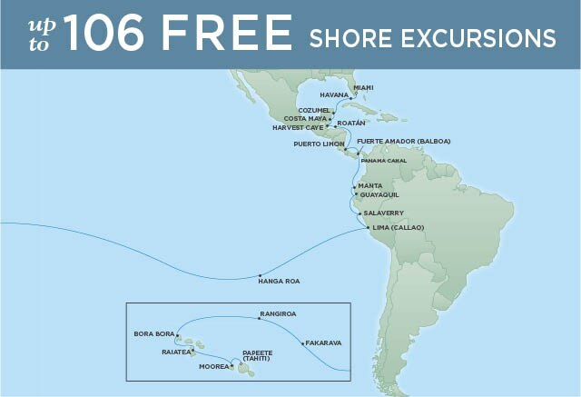 Regent Cruises | 34-Nights from Papeete to Miami Cruise Iinerary Map