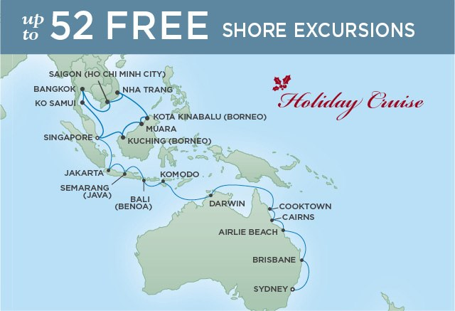 Regent Cruises | 32-Nights from Singapore to Sydney Cruise Iinerary Map