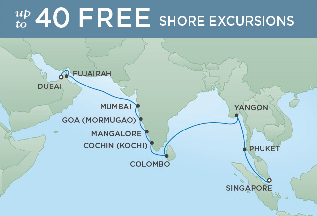 Regent Cruises | 20-Nights from Dubai to Singapore Cruise Iinerary Map