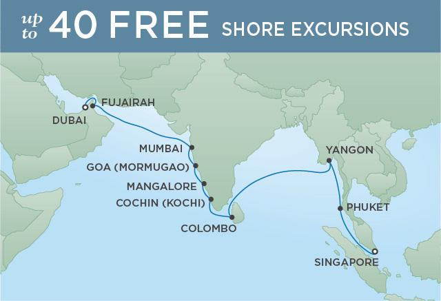 Regent Cruises | 20-Nights from Dubai to Singapore Cruise Iinerary Map