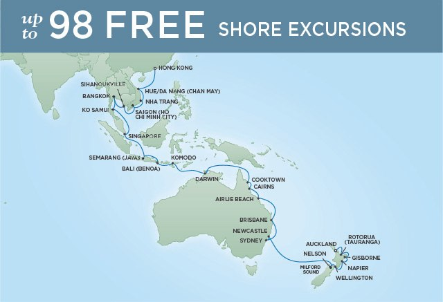 Regent Cruises | 40-Nights from Auckland to Hong Kong Cruise Iinerary Map