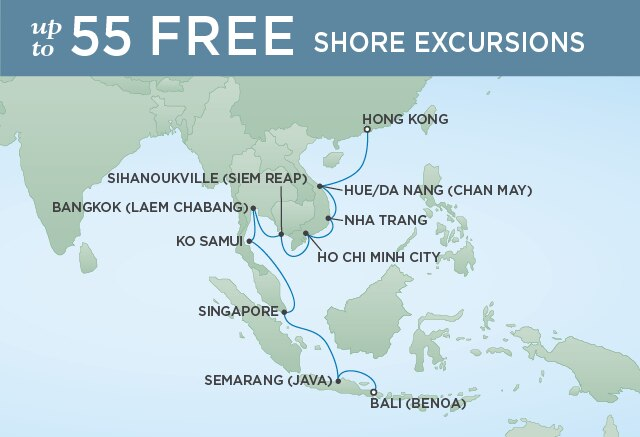 Regent Cruises | 18-Nights from Bali to Hong Kong Cruise Iinerary Map