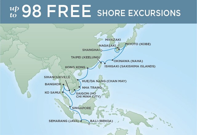 Regent Cruises | 30-Nights from Bali to Shanghai Cruise Iinerary Map