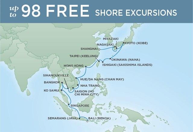 Regent Cruises | 30-Nights from Bali to Tokyo Cruise Iinerary Map
