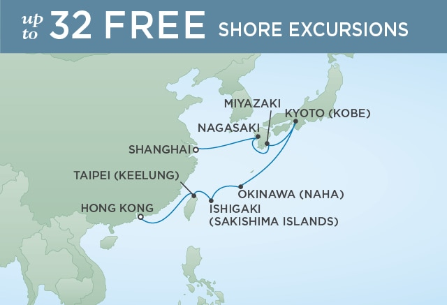 Regent Cruises | 12-Nights from Hong Kong to Shanghai Cruise Iinerary Map