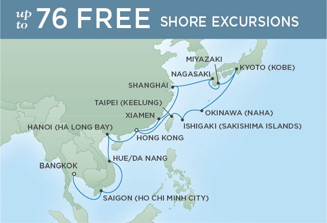 Regent Cruises | 26-Nights from Hong Kong to Bangkok Cruise Iinerary Map