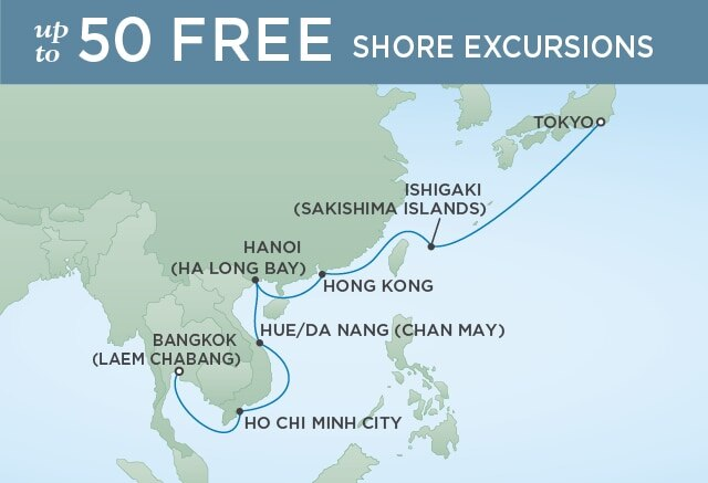 Regent Cruises | 14-Nights from Shanghai to Bangkok Cruise Iinerary Map