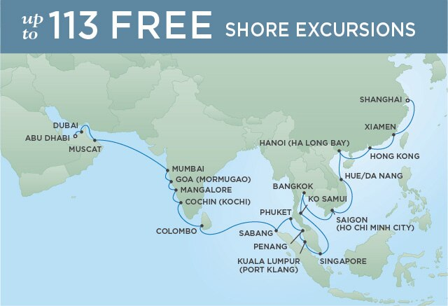 Regent Cruises | 34-Nights from Tokyo to Abu Dhabi Cruise Iinerary Map