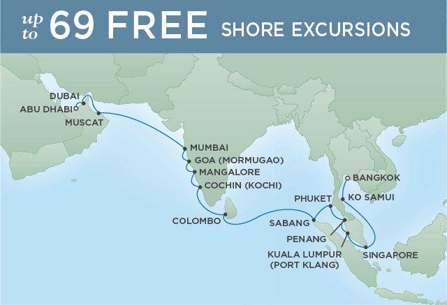 Regent Cruises | 20-Nights from Bangkok to Abu Dhabi Cruise Iinerary Map