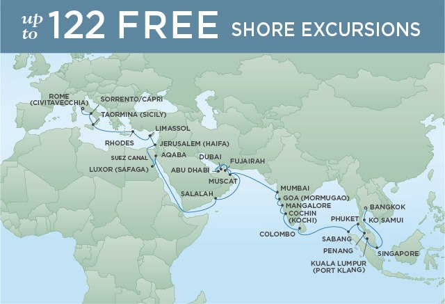 Regent Cruises | 40-Nights from Bangkok to Rome Cruise Iinerary Map