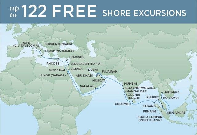 Regent Cruises | 40-Nights from Bangkok to Rome Cruise Iinerary Map