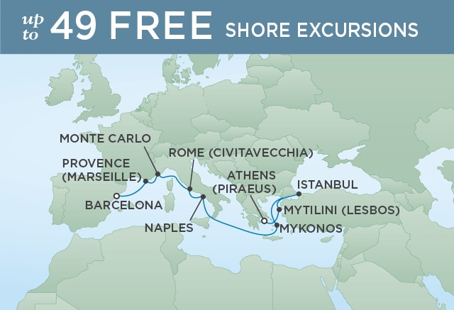 Regent Cruises | 10-Nights from Athens to Barcelona Cruise Iinerary Map