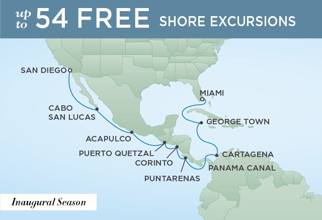 Regent Cruises | 16-Nights from Miami to San Diego Cruise Iinerary Map