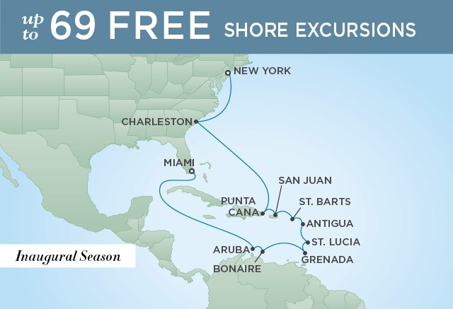 Regent Cruises | 15-Nights from Miami to New York Cruise Iinerary Map